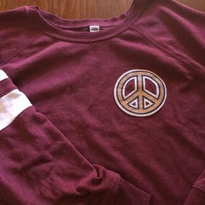 Old Navy Maroon Peace Sweatshirt 3X Plus